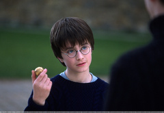 Гарри Поттер держит снитч