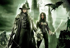 Ван Хельсинг и Анна Валери на фоне замка Дракулы