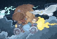 Гарри Поттер и Хагрид летят на мотоцикле