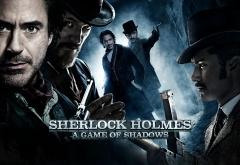 Джаред Харрис, Роберт Дауни мл. и Джуд Лоу на афише фильма Шерлок Холмс: Иг ...
