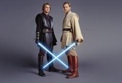 Оби-Ван и Энакин на сером фоне