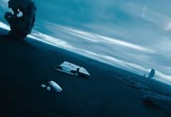 Шаттл и торпеда на планете