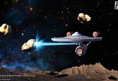 Энтерпрайз стреляет в астероид