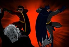 Робин и Бэтмэн дерутся со злодеем